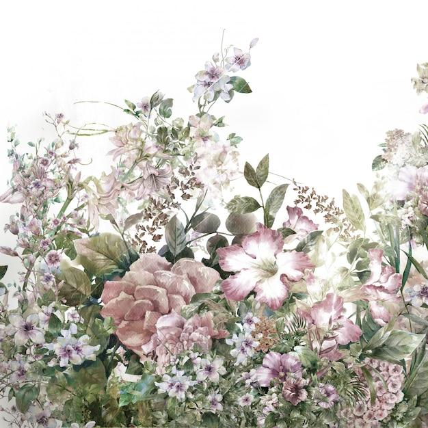 Aquarelle de feuilles et de fleurs, sur fond blanc Photo Premium