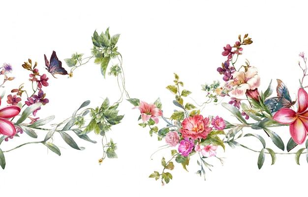 Aquarelle de feuilles et de fleurs, modèle sans couture sur blanc Photo Premium