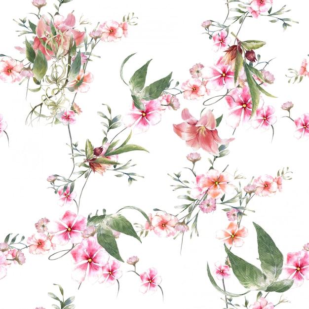 Aquarelle de feuilles et de fleurs, modèle sans couture sur fond blanc Photo Premium