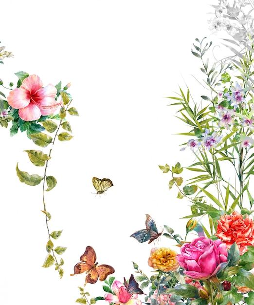 Aquarelle de feuilles et de fleurs, papillon sur fond blanc Photo Premium