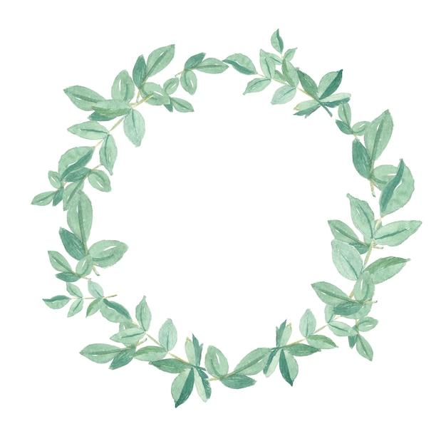 Aquarelle de feuilles vertes peintes à la main encadrent une couronne de cercle naturel Photo Premium