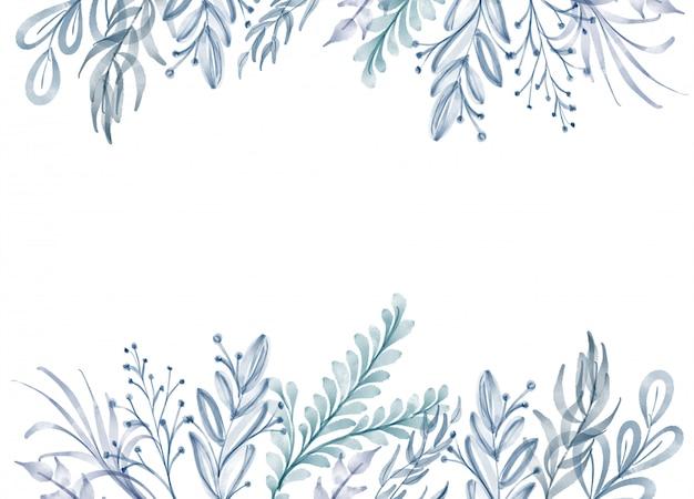 Aquarelle fleur cadre feuille fond été Photo Premium