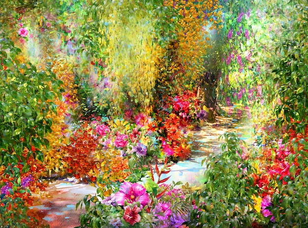 Aquarelle de fleurs abstraites. fleurs multicolores de printemps Photo Premium