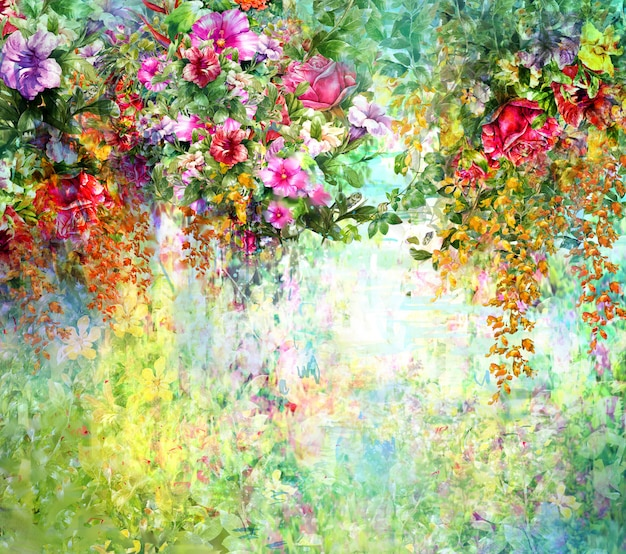 Aquarelle de fleurs abstraites. fleurs multicolores de printemps Photo Premium