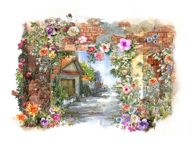 Aquarelle de fleurs colorées abstraites. printemps avec des bâtiments et des murs Photo Premium