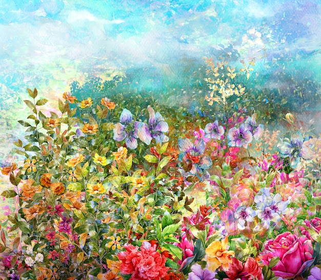 Aquarelle de fleurs colorées abstraites. printemps multicolore Photo Premium