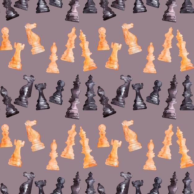 Aquarelle fond image pièces d'échecs Photo Premium