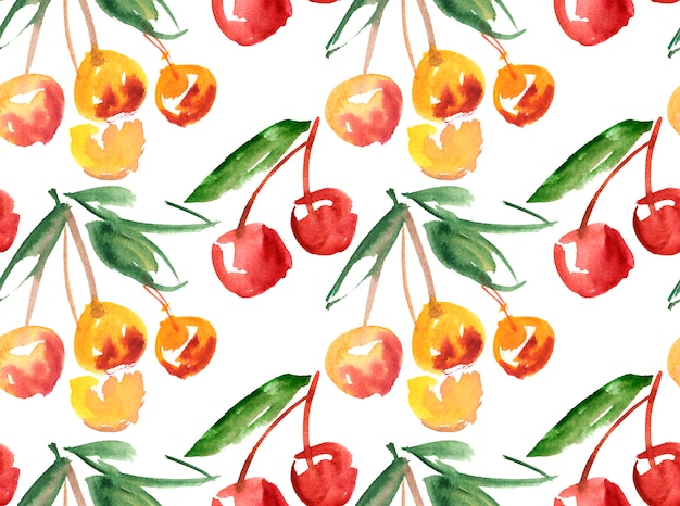 Aquarelle à la main cerise fruit Photo Premium