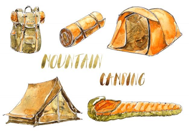 Aquarelle, matériel de sport et de camping Photo Premium