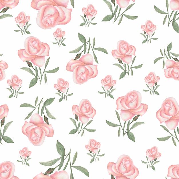 Aquarelle modèle sans couture avec des fleurs de luxe. roses et herbes. Photo Premium