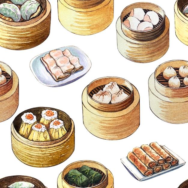 Aquarelle modèle sans couture avec de la nourriture chinoise dim sum Photo Premium