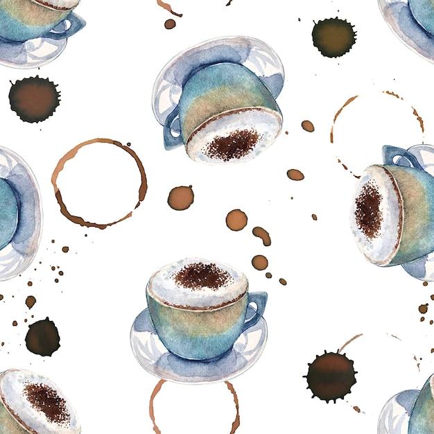 Aquarelle modèle sans couture avec des tasses à café et des marques de café Photo Premium