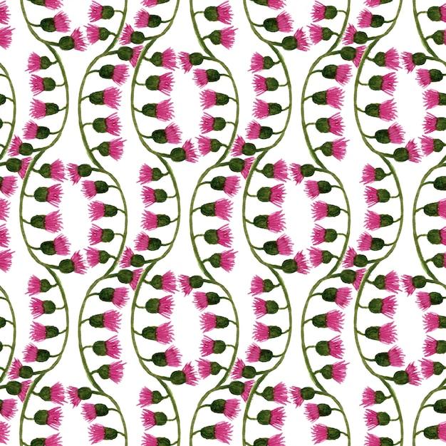 Aquarelle motif floral de sans couture avec des fleurs de chardon. peut être utilisé pour l'emballage, le textile, le papier peint et l'emballage. Photo Premium