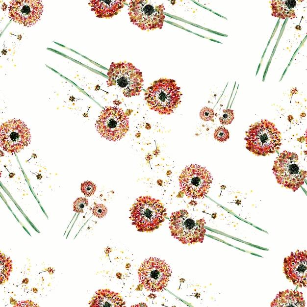Aquarelle motif de pissenlit sur fond blanc Photo Premium