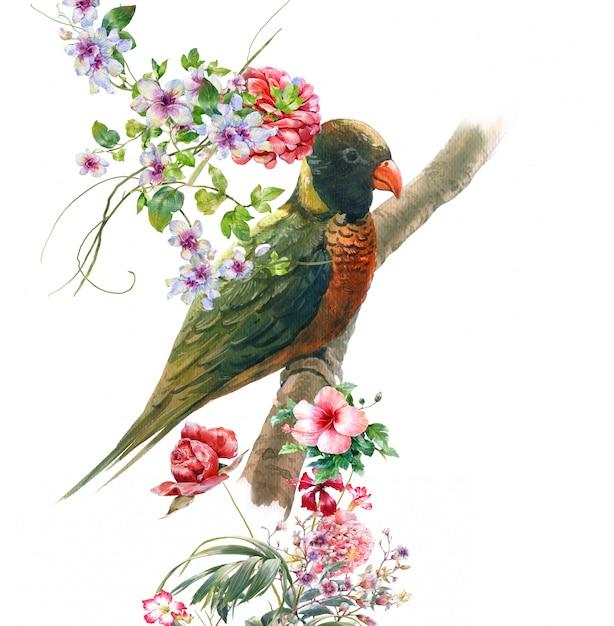 Aquarelle avec oiseau et fleurs, blanc Photo Premium