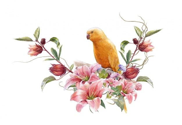 Aquarelle avec oiseau et fleurs en blanc Photo Premium