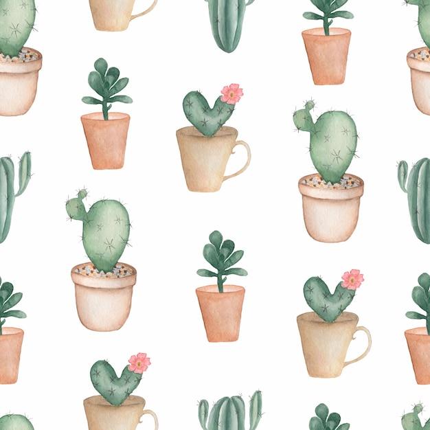 Aquarelle peint des plantes vertes de la maison dans des pots de fleurs Photo Premium