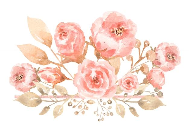 Aquarelle peinte composition de bouquet de fleurs dans des couleurs délicates pastel. Photo Premium