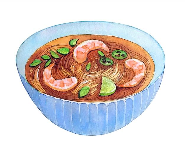 Aquarelle pho soupe de crevettes vietnamienne isolé sur fond blanc. Photo Premium