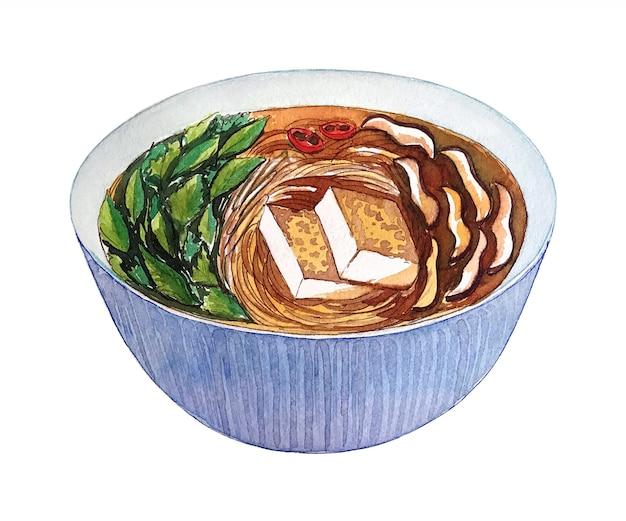 Aquarelle pho soupe végétalienne vietnamienne isolé sur fond blanc. Photo Premium