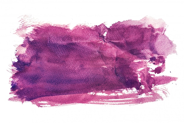 Aquarelle pourpre isolé sur fond blanc, peinture à la main sur papier froissé Photo Premium