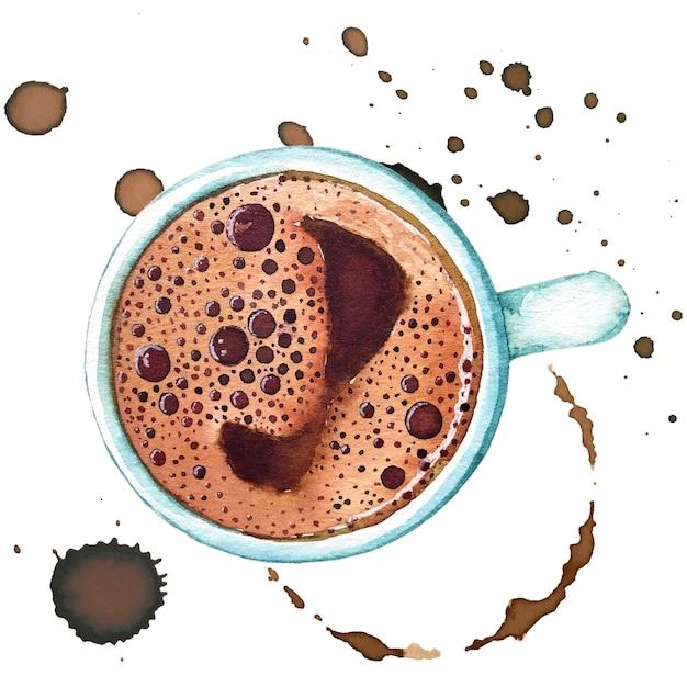 Aquarelle tasse de café turc, vue de dessus. Photo Premium
