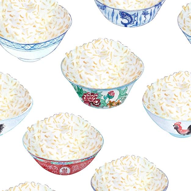 Aquarelle transparente avec des bols de riz colorés à ce sujet. Photo Premium