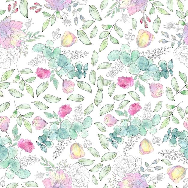 Aquarelle transparente motif de feuilles et de fleurs d'été Photo Premium