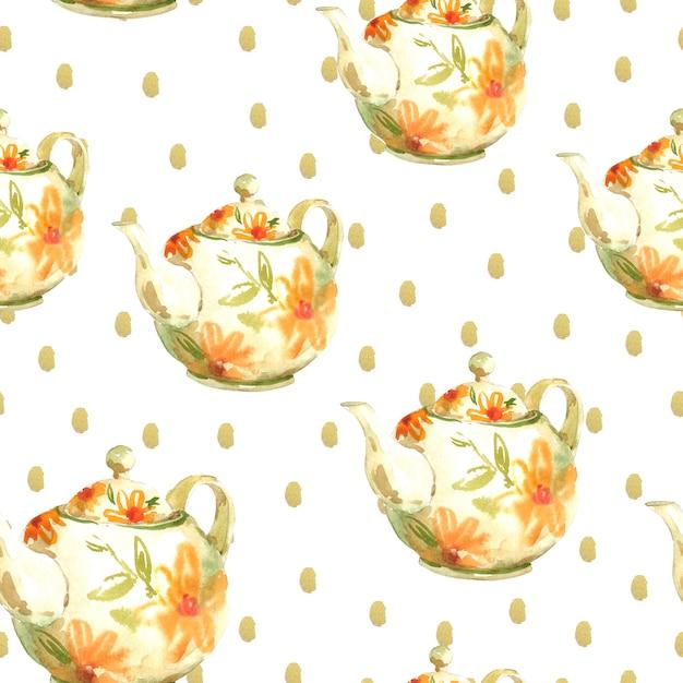 Aquarelle transparente avec des théières Photo Premium