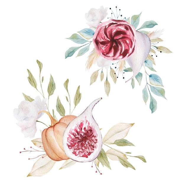 Aquarelles compositions florales Photo Premium