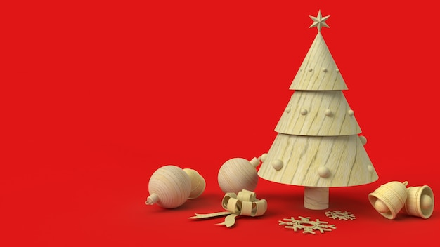 L'arbre De Noël En Bois Sur Fond Rouge Rendu 3d Photo Premium