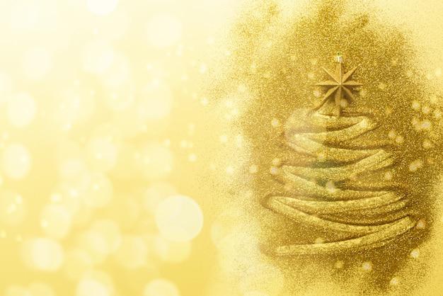 Arbre De Noël Brillant Avec Des étoiles Scintillantes Sur Fond Bleu. Photo Premium