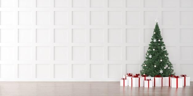 Arbre de noël avec fond intérieur de boîtes à cadeaux Photo Premium