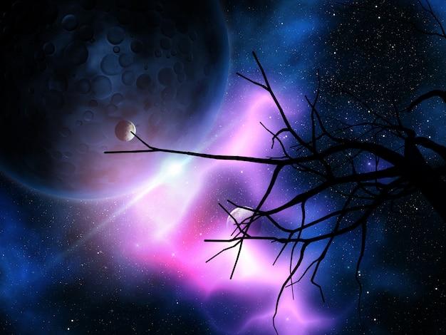 Arbre noueux 3d contre le ciel nocturne avec des planètes Photo Premium