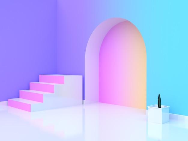 Arbre Pot Abstrait Rose Blanc Escalier-escalier Violet-violet Bleu Jaune Rose Dégradé Mur-salle Rendu 3d Photo Premium