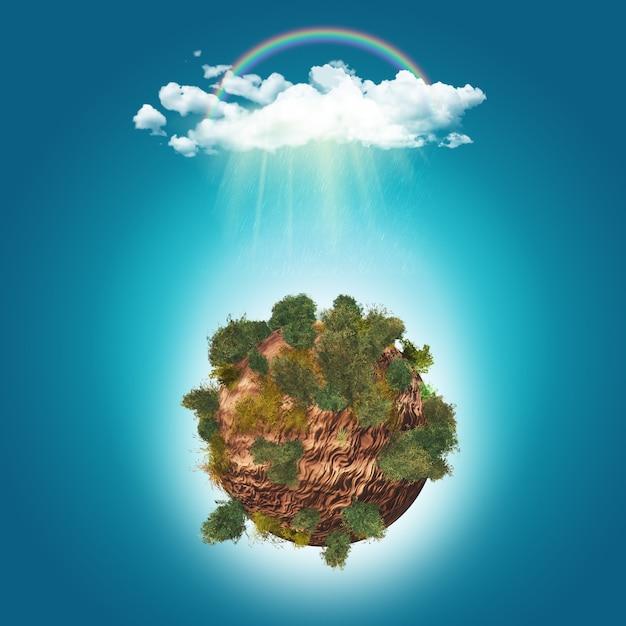 Arbres 3d sur le globe rocheux Photo gratuit