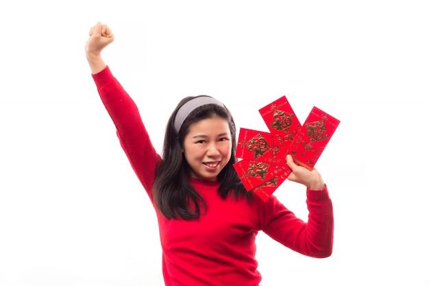 Argent fortune sourire main rouge Photo gratuit