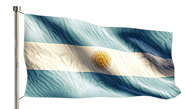 Argentine National Flag Isolated 3d Fond Blanc Photo gratuit
