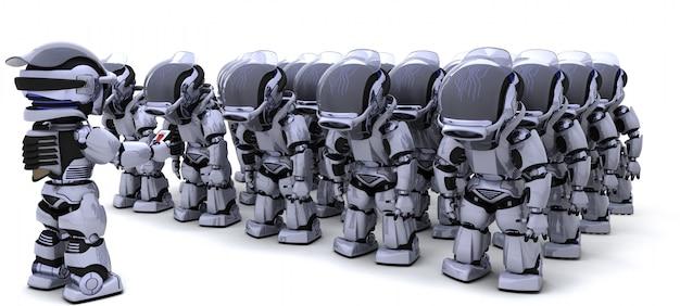 Armée De Robots Avec Chef Photo gratuit