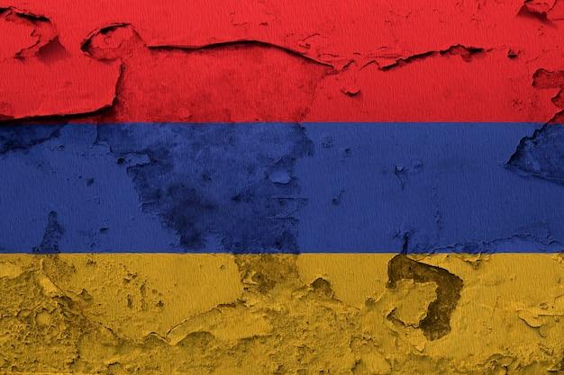 Arménie Drapeau Peint Sur Mur Grunge Fissuré Photo Premium