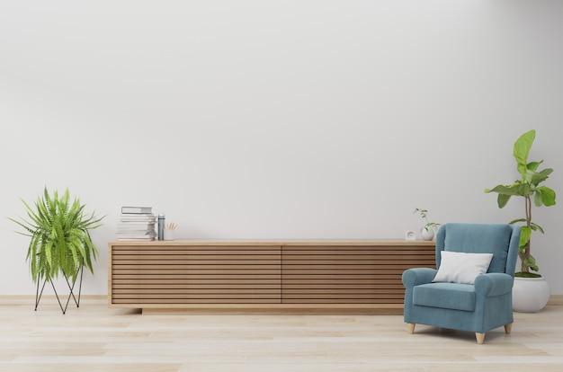 Armoire en bois avec fauteuil bleu sur mur blanc et plancher en bois, rendu 3d Photo Premium