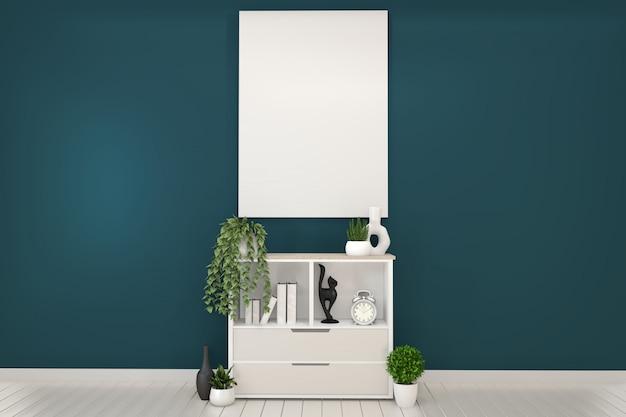 Armoires blanches et blanches dans une chambre et un décor vert foncé. rendu 3d Photo Premium