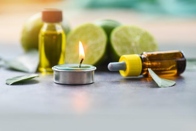 Aromathérapie aromathérapie aux huiles essentielles aromatisées au citron vert et au citron vert Photo Premium
