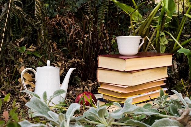 Arrangement D'automne Avec Livres Et Théière Photo gratuit