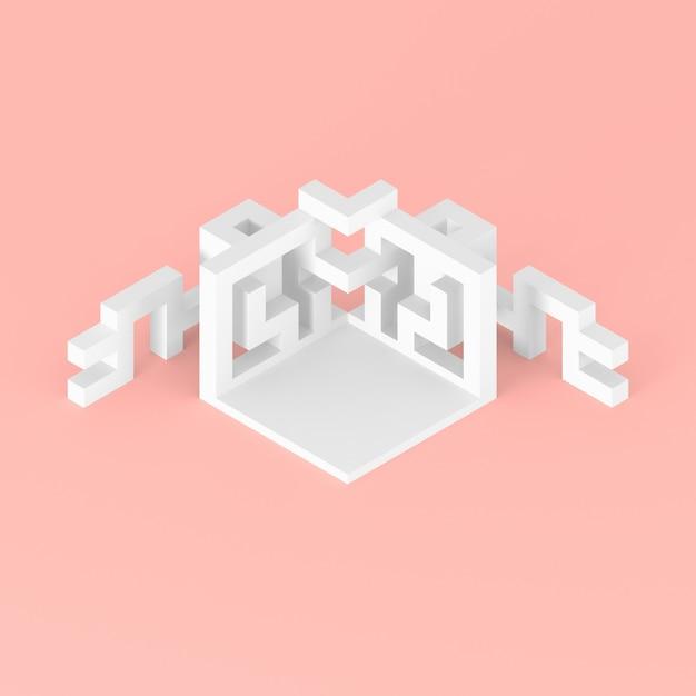 Arrangement isométrique abstrait d'une illustration 3d de cube en expansion Photo Premium