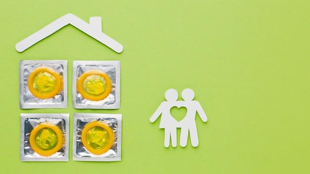 Arrangement De Méthode De Contraception Sur Fond Vert Photo gratuit