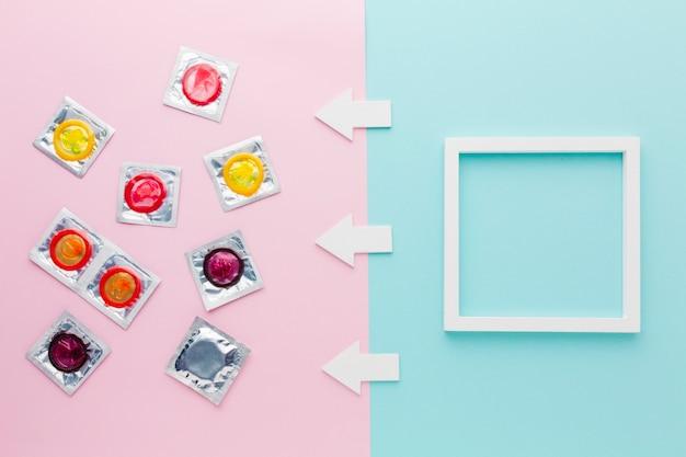 Arrangement De Méthode De Contraception Vue De Dessus Avec Cadre Vide Photo gratuit