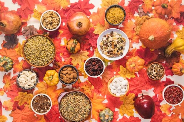 Arrangement de nourriture vue de dessus sur fond coloré Photo gratuit