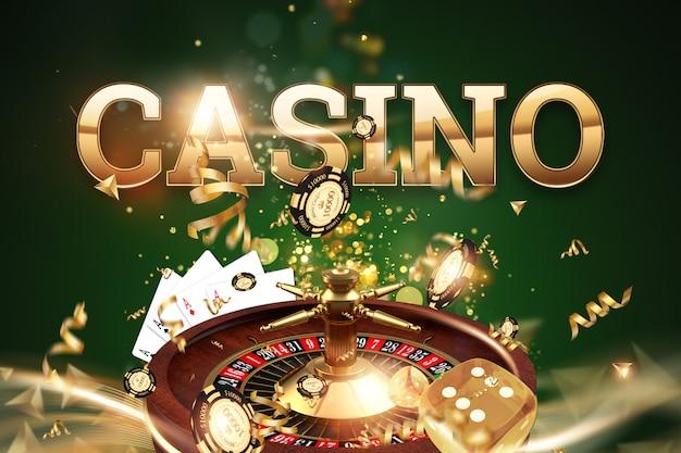 Arrière-plan créatif, inscription casino, roulette, dés de jeu, cartes, jetons de casino sur fond vert Photo Premium