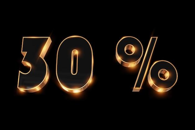 Arrière-plan créatif, soldes d'hiver, 30 pour cent, réduction, nombres d'or en 3d. Photo Premium